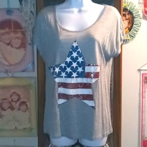 Cute Distressed Star T with Silver Sparkles